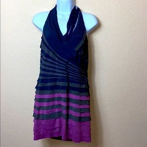 ARK & CO  HALTER TOP OPEN BACK RUCHE BODYCON LARGE